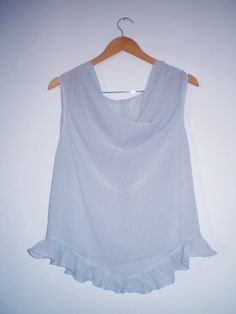 Georgette Blouse Pale blue dotted  with cowl neckline by FedRaDD