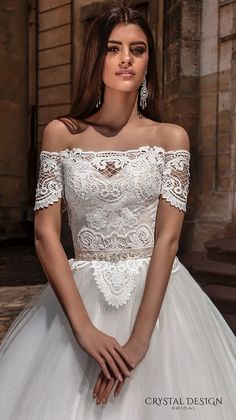 crystal design bridal 2016 off the shoulder lace bodice embellished hem princess tulle ball gown wedding dress illusion lace back royal train (marisa) zv