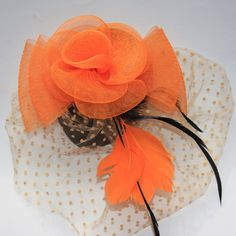 Orange Fascinator with pear shape base by RepublicofPigtails, $30.00