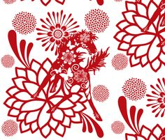❤ =^..^= ❤  Abundant Beauty  Chinese paper cutting fabric by paragonstudios on Spoonflower - custom fabric