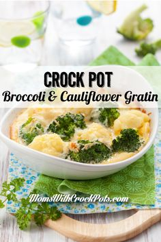 Crock Pot Broccoli & Cauliflower Gratin - Moms with Crockpots keto recipes crock pot Crockpot Veggies, Crockpot Side Dishes, Crock Pot Vegetables, Slow Cooker Broccoli, Crock Pot Slow Cooker, Crock Pot Cooking, Vegetable Dishes, Slow Cooker Recipes, Crockpot Recipes