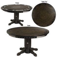 Harley-Davidson® Bar & Shield Flames Poker Table w/ Vintage Black finish  http://www.bikerathome.com/index.php/harley-davidson-poker-table-vintage-black.html