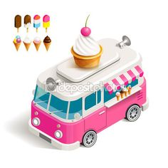 Cafe car Ice cream on wheels. Stock vector color isometric illustration Van with ice cream