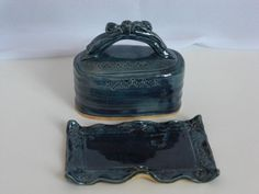 Storm blue covered butter dish blue handmade by WheelClayArt