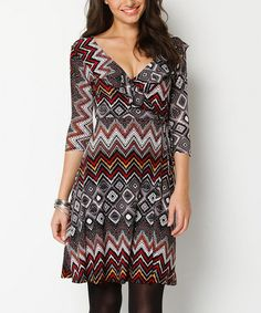 Take a look at this Black & Red Rachel Ruffle Wrap Dress by Jantie on #zulily today!