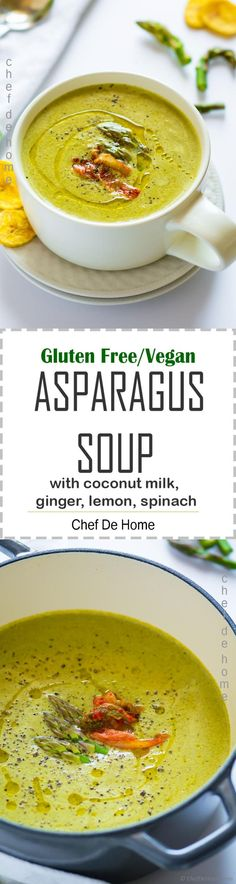 Vegan Asparagus Soup Recipe!! Creamy Asparagus Soup with a subtle spicy kick, prepared with fresh asparagus, sweet leeks, spinach and no creams... and Thai-style flavors of fresh ginger, chili, garlic, cilantro, lemon, and coconut milk.. Plus can't beat the tangy-spicy finish with kimchi.. with bonus of gut-friendly pro-biotics. Gluten free, vegan, also Whole30 diet friendly...
