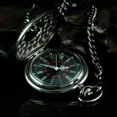 relógio de bolso steampunk preto com corrente retro vintage