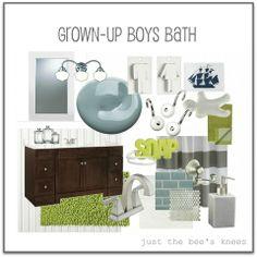 Grey and green bathroom
