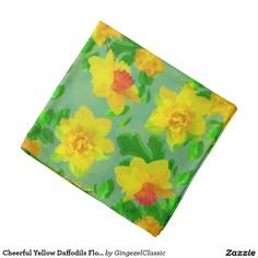 Cheerful Yellow #Daffodils #Floral Pattern #Bandana from the Inspired by Spring Collection. #scarf #Gingezel #yellowandgreen #fashion #fashioninspiration