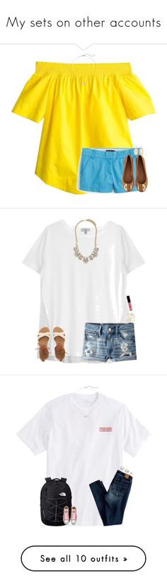 """""""My sets on other accounts"""" by elliegracee ❤ liked on Polyvore featuring J.Crew, Tory Burch, Kendra Scott, Clu, American Eagle Outfitters, NYX, Forever 21, Billabong, Vineyard Vines and The North Face"""