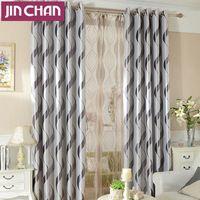 de lujo de la raya jacquard moderno cortinas gruesas cortinas para sala de estar de la