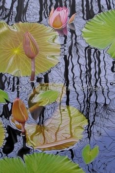 """""""Water Lilies #29"""" ~ Frank DePietro ~ Oil on Canvas ~ 2012 ~ 36"""" H x 24"""" W"""