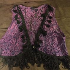 """One of a kind, purple fringe Vest by """"Sonda"""" NYC Designer Sonda, personal seamstress for the band """"Black Crows"""" n good friend of mine....purple fringed vest. Handmade n one of a kind. Too small for me """"Sonda, NYC Other"""