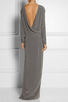 By Malene Birger|Jeanetti draped-back washed-silk gown|NET-A-PORTER.COM