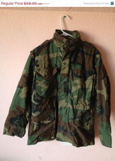 50% OFFSALE VTG Men's 80's 90's Lined High Collar Military Jacket (M-L). $29.00, via Etsy.