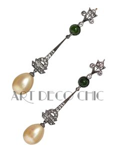 Art Deco Sterling Silver Diamante, Jade, & Pear-Shaped Pearl Ear Pendants ~NR~ #Pendant