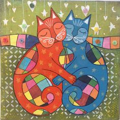 MIXED MEDIA COLLAGE 'Kitty Friends' ~ original artwork by Amanda Stelcova