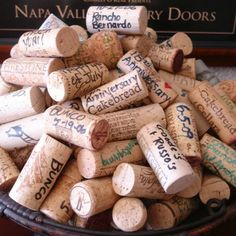 Wine cork guest book.. Wish we thought of this one!