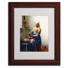 'The Milkmaid 1658-60' by Jan Vermeer Matted Framed Painting Print