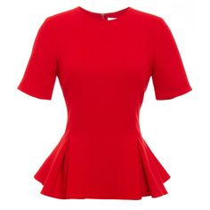 Prabal Gurung Viscose Crepe Crewneck Peplum Blouse (770 PAB) ❤ liked on Polyvore featuring tops, blouses, viscose blouse, short sleeve tops, red top, pleated blouse and red peplum top