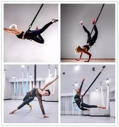 Free aerial yoga workouts, aerial yoga tutorials, and aerial yoga pose demonstrations. Learn how to do aerial yoga on your yoga hammock or yoga swing! Plyometric Workout, Plyometrics, Fitness Video, Yoga Fitness, Hiit, Sophia Thiel Training, Bungee Workout, Polo Tshirt, No Equipment Workout