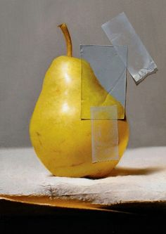 adam vinson, pear, oil on panel (Hyperrealism, trompe l'oeil). Painting Still Life, Still Life Art, Food Art, Art Lessons, Painting & Drawing, Illustration Art, Illustrations, Contemporary Art, Art Photography