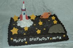 Rocket Ship - Rocket ship is fondant as well as the stars and planet. Moon and smoke is buttercream.