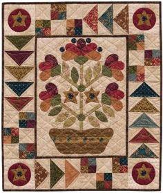 Folk Art Dish Garden wall quilt pattern by Kim Diehl. Free with Kim's applique freezer paper. by greta