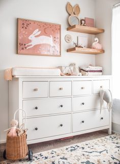 Seeing the beautiful nursery that styled for her new daughter made me so inspired! What a clever Mama she is don't you think? To shop this print find the link in our smart bio! Ikea Nursery, Nursery Dresser, Nursery Shelves, Dresser As Nightstand, Nursery Room, Girl Nursery, Girl Room, Nursery Decor, Baby Bedroom