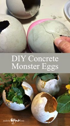 Make your DIY concrete monster eggs to use as planters or containers using balloons and RapidSet Cement. Each one is so unique Make your DIY concrete monster eggs to use as planters or containers using balloons and RapidSet Cement. Each one is so unique Concrete Candle Holders, Diy Concrete Planters, Cement Art, Concrete Cement, Concrete Crafts, Concrete Projects, Concrete Garden, Diy Planters, Concrete Furniture