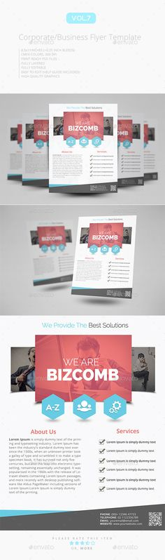 Flat Seminar or Corporate Flyer Templates Flyer template - corporate flyer template