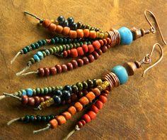 Trade Bead Earrings Southwestern Tribal Boho OOAK