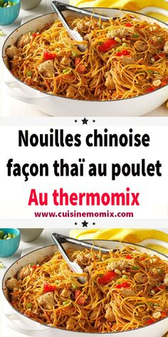 Chinese Thai Chicken Noodles with Thermomix - Nouilles chinoise façon thaï au poulet au thermomix Thai chicken noodles with thermomix. Here is an Asian Delicacy of Thai Noodles with Chicken, a simple and easy recipe to make with thermomix. Easy Asian Recipes, Greek Recipes, Ethnic Recipes, Healthy Eating Tips, Healthy Nutrition, Healthy Recipes, Healthy Meals, Easy Donut Recipe, Asian Food Recipes