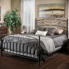 Gardenia Queen Iron Bed Frame by Christopher Knight Home (Bronze), Brown King Metal Bed, King Bed Frame, Queen Bedding Sets, Queen Beds, Steel Bed Frame, Bedroom Furniture Stores, Adjustable Beds, Headboard And Footboard, Panel Bed