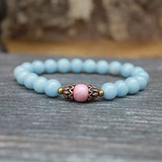 Angelite Rhodonite Wrist Mala Yoga Bracelet Prayer by DazzleDream