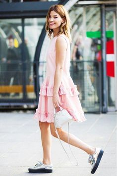 How to Style Your Sneakers in Summer - ladylike pink dress with ruffle detail, styled with a mini bag + cool silver sneakers
