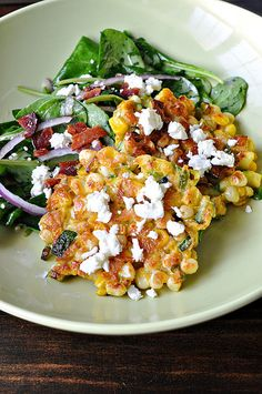 corn cakes with goat cheese - made this for dinner last night and it tasted great! Tips: make the corncakes small, use a non-stick pan, and add more liquid if the solids overwhelm the batter.