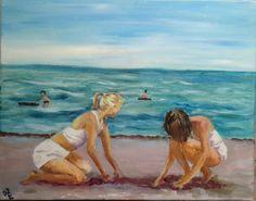 Akryl på lærred 40 x 50. Malet af Annemarie  Elal.  Tvillingerne på stranden 1956.