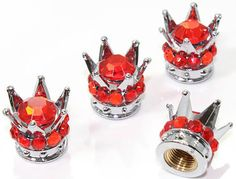 "Amazon.com : (4 Count) Cool and Custom ""King's Rhinestone Crown with Easy Grip Design"" Tire Wheel Rim Air Valve Stem Dust Cap Seal Made of Genuine Anodized Chrome Metal {Shimmering Honda Red and Silver Colors - Hard Metal Internal Threads for Easy Application - Rust Proof - Fits For Most Cars, Trucks, SUV, RV, ATV, UTV, Motorcycle, Bicycles} ""Rhinestone Diamond Studded"" : Sports & Outdoors"