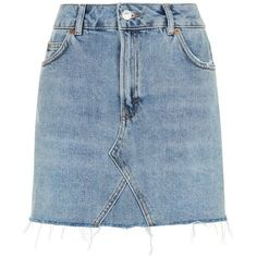 Topshop Moto Mini Denim Skirt (50 AUD) ❤ liked on Polyvore featuring skirts, mini skirts, mid stone, short mini skirts, blue skirt, denim skirt, denim miniskirt and topshop skirts
