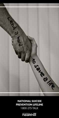 Lend a hand to save a life. National Suicide Prevention Lifeline 1-800-273-TALK