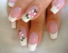 Flaunt the pink base and dazzling white tipped nails with the perfect French manicure. Go through the tips, procedure and striking French manicure ideas here. Flower Nail Designs, Pretty Nail Designs, Flower Nail Art, Toe Nail Designs, French Manicure Nails, French Tip Nails, Manicure Ideas, Nail Ideas, Cute Nails