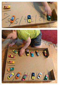 Do you have a lil one who LOVES cars?? And this is a great way to teach your lil ones numbers!! Make a parking lot with numbers in each slot. Put numbers on the cars, and they have to match the car with the parking spot number!