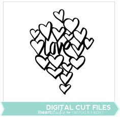 Digital cutting files svg die cuts love hearts doodle designs by Wilna Furstenburg