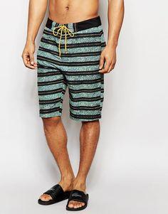 Image 1 of ASOS Boardie Swim Shorts With Digital Stripe