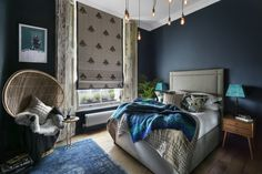 This gorgeous one bedroom London apartment is bursting with bold colors, patterns, and textures. Check out Shanade& resource lists below to shop her style and add some bold elegance to your home! Blue Bedroom, Master Bedroom, Bedroom Decor, Bedroom Ideas, Bedroom Designs, Home Design, Interior Design, Interior Styling, One Bedroom Apartment
