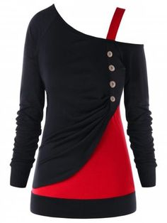 9505dc641d Shop for Red With Black 5xl Plus Size Color Block One Shoulder Top online  at  16.82