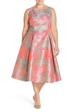 Adrianna Papell Metallic Jacquard Fit & Flare Midi Dress (Plus Size) available at #Nordstrom