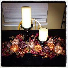 Thanksgiving centerpiece with glitter pumpkins! Love.