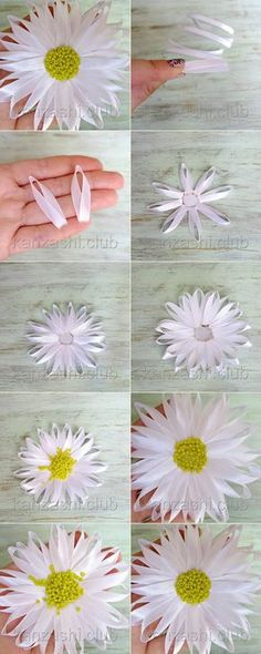 Wonderful Ribbon Embroidery Flowers by Hand Ideas. Enchanting Ribbon Embroidery Flowers by Hand Ideas. Cloth Flowers, Felt Flowers, Diy Flowers, Fabric Flowers, Paper Flowers, Diy Ribbon Flowers, Ribbon Art, Ribbon Crafts, Flower Crafts